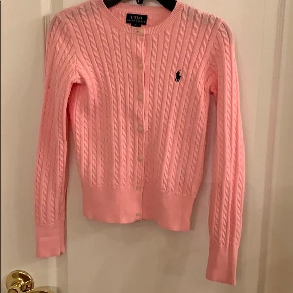 653449cb47bf75 Ralph Lauren Polo Girls Pink Cable Knit Sweater. M_5c7b5a7345c8b3cb9a14b63e